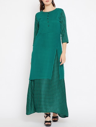 sheer side slit layer checkered dress - 15518344 - Standard Image - 1