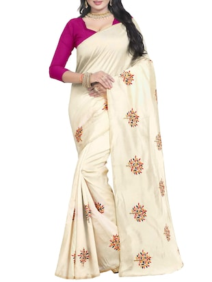 Embroidered Ivory Saree with blouse - 15519493 - Standard Image - 1