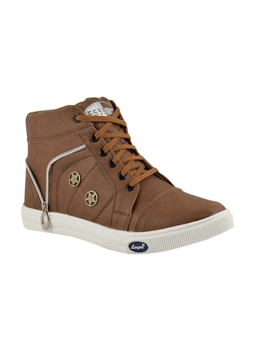 tan leatherette lace up sneakers - 15519550 - Standard Image - 1