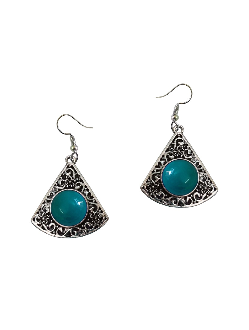 39d2d3ec10010 Green Silver Tone Oxidized Earrings