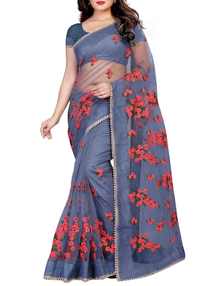 Floral embroidered saree with blouse - 15525277 - Standard Image - 1