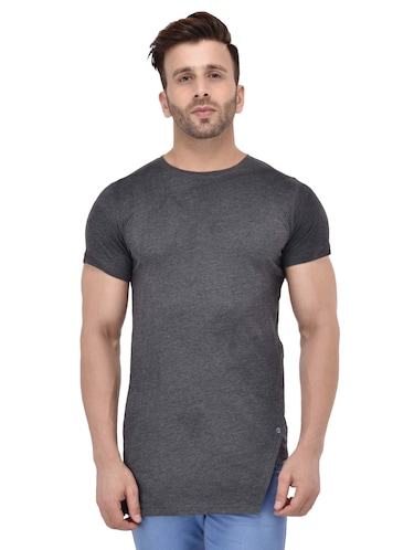 grey cotton asymmetric t-shirt - 15525644 - Standard Image - 1