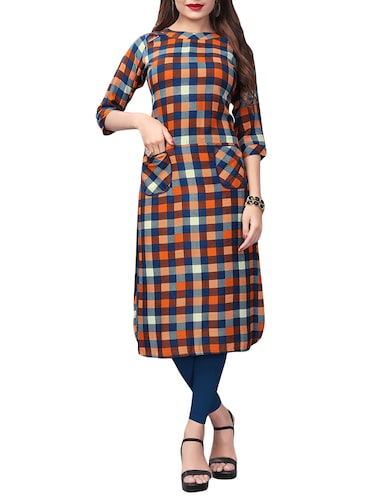 Checkered straight kurta with pockets - 15525911 - Standard Image - 1