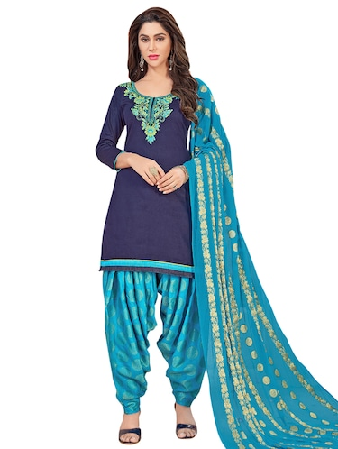 Embroidered unstitched patiyala suit - 15526911 - Standard Image - 1