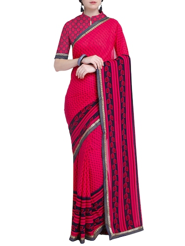 Contrast bordered printed saree with blouse - 15528246 - Standard Image - 1