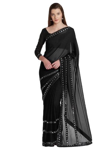 mirror lace embellished bordered saree with blouse - 15541707 - Standard Image - 1
