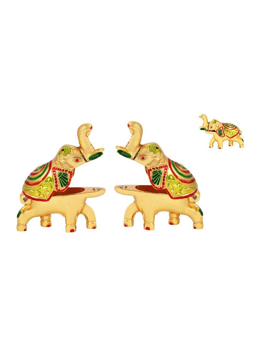 d8e8a2c720a457 ... Pair of Roli tikka haldi kumkum holder in metal swan shaped with enamel  by Handicrafts Paradise