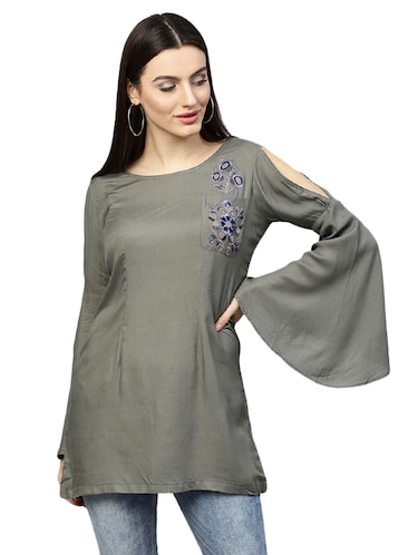 bell sleeved embroidered tunic - 15559898 - Standard Image - 1