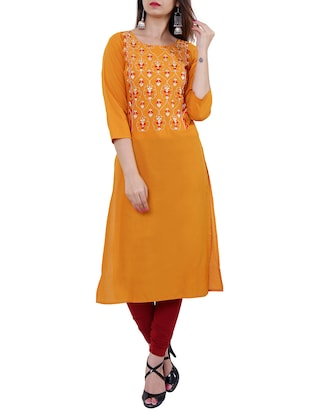 Embroidered straight kurta - 15559902 - Standard Image - 1