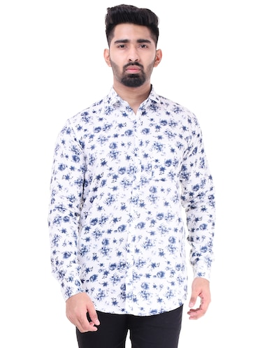 white  cotton casual shirt - 15563597 - Standard Image - 1