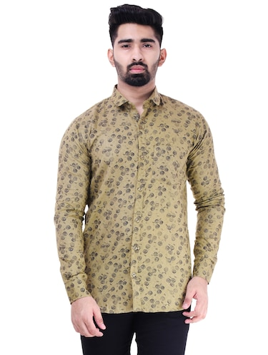 brown cotton casual shirt - 15563612 - Standard Image - 1