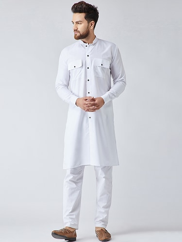 white cotton kurta pyjama set - 15566051 - Standard Image - 1
