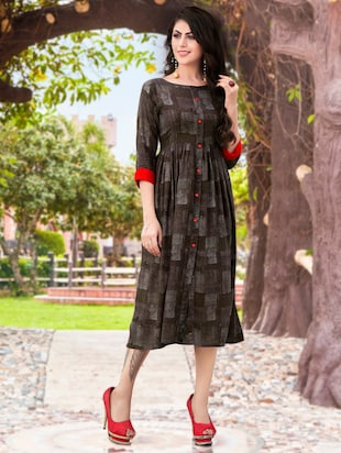 Flared printed dress - 15567923 - Standard Image - 1