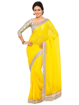 stone embellished yellow saree with blouse - 15571981 - Standard Image - 1