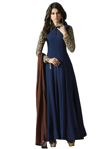 embroidered semi-stitched anarkali suit - 15573348 - Standard Image - 1