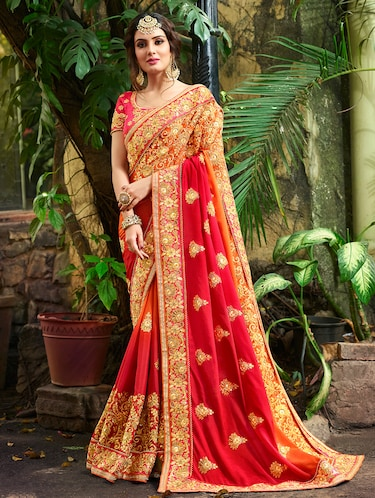 Zari embroidered saree with blouse - 15580703 - Standard Image - 1