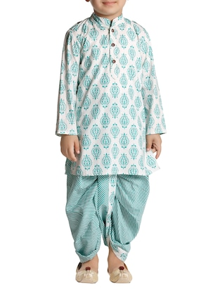 green cotton kurta set - 15581848 - Standard Image - 1