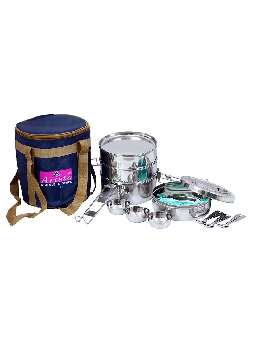 Steel Picnic Lunch Box Jumbo Containers set of 4 with Bag