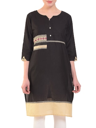 Straight patch work kurta - 15586314 - Standard Image - 1