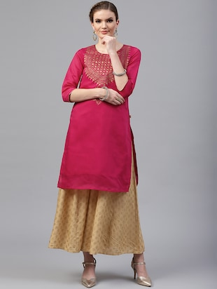 Foil printed chanderi kurta with palazzo set - 15586823 - Standard Image - 1