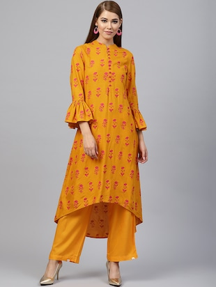 Floral bell sleeved kurta with palazzo set - 15586829 - Standard Image - 1