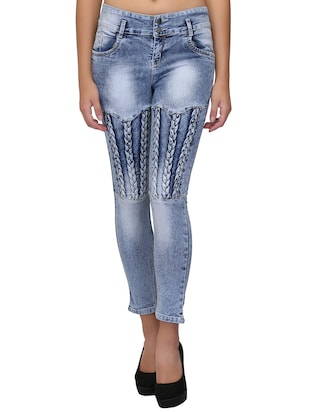 braid weave stone washed jeans - 15604541 - Standard Image - 1