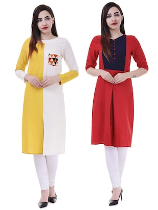 Multi colored combos kurta - 15605776 - Standard Image - 1