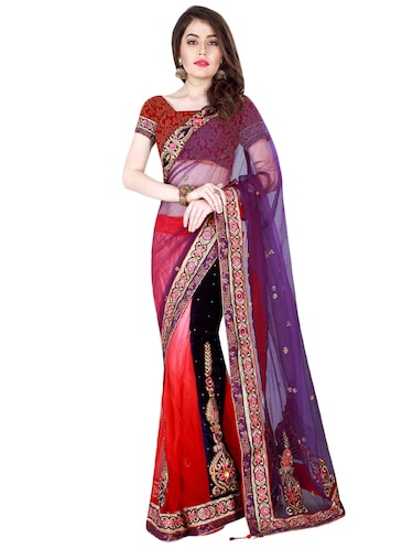 patchwork embroidered lehenga saree with blouse - 15606341 - Standard Image - 1