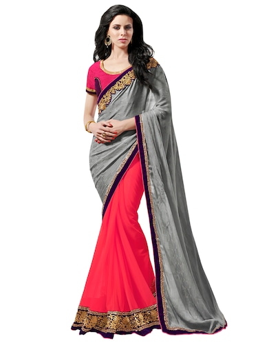 lace border half and half saree with blouse - 15606347 - Standard Image - 1