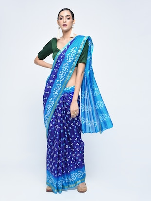 Zari bordered bandhani saree with blouse - 15606520 - Standard Image - 1