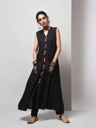 A-line pocket kurta with tassels - 15606724 - Standard Image - 1