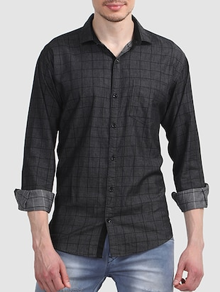 black cotton casual shirt - 15607407 - Standard Image - 1
