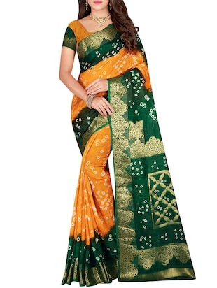 Zari bordered bandhani saree with blouse - 15607510 - Standard Image - 1