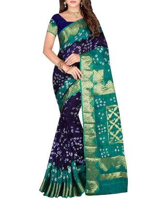 Zari bordered bandhani saree with blouse - 15607514 - Standard Image - 1