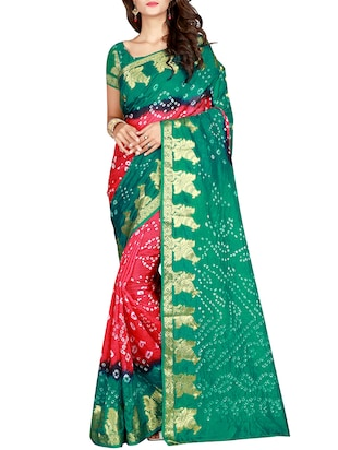 Zari bordered bandhani saree with blouse - 15607521 - Standard Image - 1