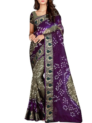 Zari bordered bandhani saree with blouse - 15607542 - Standard Image - 1