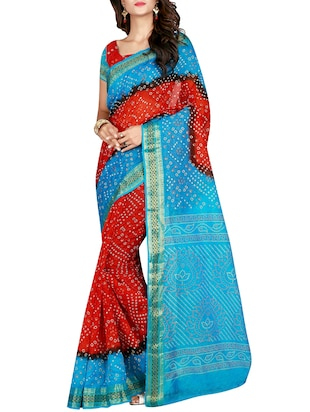 Zari bordered bandhani saree with blouse - 15607554 - Standard Image - 1