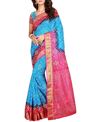 Zari bordered bandhani saree with blouse - 15607557 - Standard Image - 1