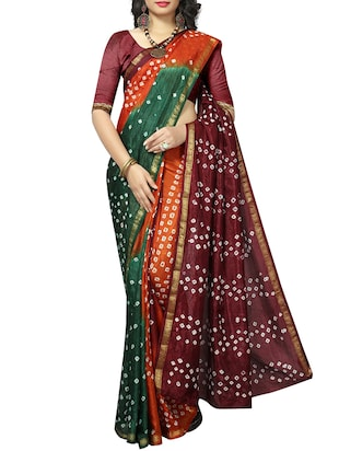 Zari bordered bandhani saree with blouse - 15607565 - Standard Image - 1
