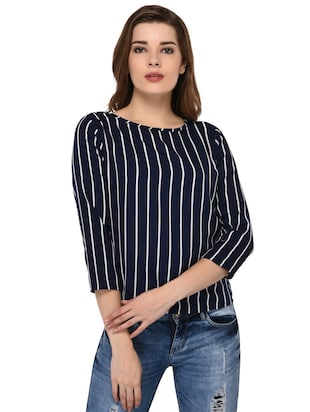 round neck striped top - 15607675 - Standard Image - 1