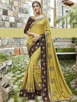 Mint green bordered saree with blouse - 15608430 - Standard Image - 1