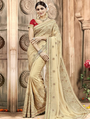 Zari  embroidered saree with blouse - 15608443 - Standard Image - 1