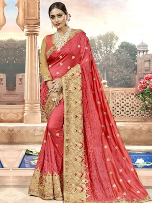 Zari  embroidered saree with blouse - 15608445 - Standard Image - 1