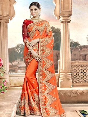 Zari embroidered saree with blouse - 15608447 - Standard Image - 1