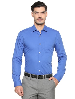 blue cotton formal shirt - 15608516 - Standard Image - 1