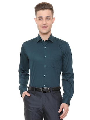blue cotton formal shirt - 15608588 - Standard Image - 1
