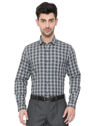 black cotton blend formal shirt - 15608595 - Standard Image - 1