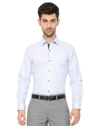 blue cotton formal shirt - 15608611 - Standard Image - 1