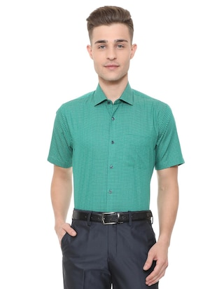 green cotton blend formal shirt - 15608627 - Standard Image - 1