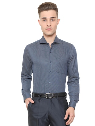 blue cotton formal shirt - 15608681 - Standard Image - 1